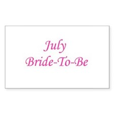 July Bride To Be Rectangle Decal