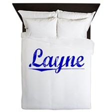 Layne, Blue, Aged Queen Duvet