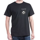 Grey Navy Emblem Black T-Shirt