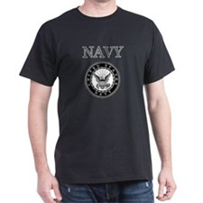 Grey Navy Emblem Black T-Shirt