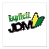 "EJDM Spreading Logo Square Car Magnet 3"" x 3"""