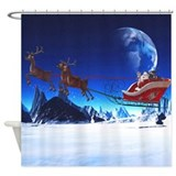 Santa Claus and his Reindeers Shower Curtain