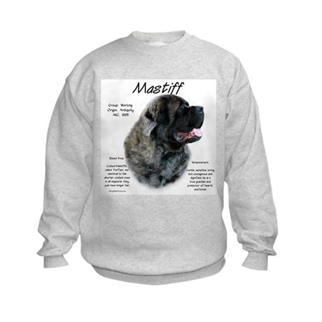 Brindle Fluffy Mastiff Kids Sweatshirt