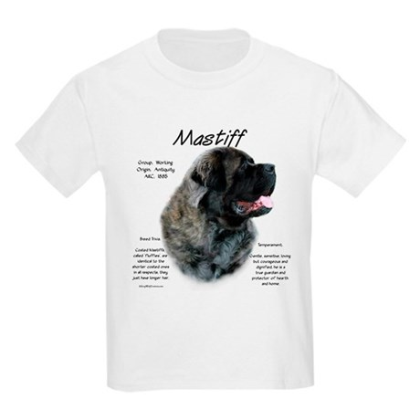 Brindle Fluffy Mastiff Kids Light T-Shirt