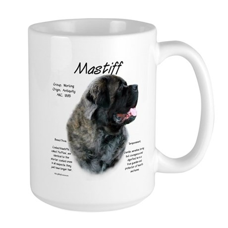 Brindle Fluffy Mastiff Large Mug