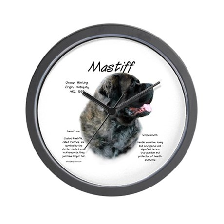 Brindle Fluffy Mastiff Wall Clock