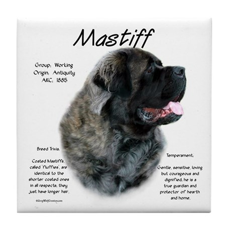 Brindle Fluffy Mastiff Tile Coaster