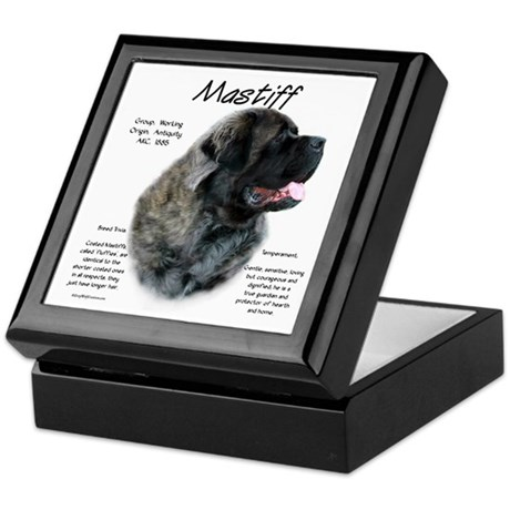 Brindle Fluffy Mastiff Keepsake Box