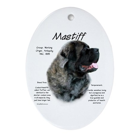 Brindle Fluffy Mastiff Oval Ornament