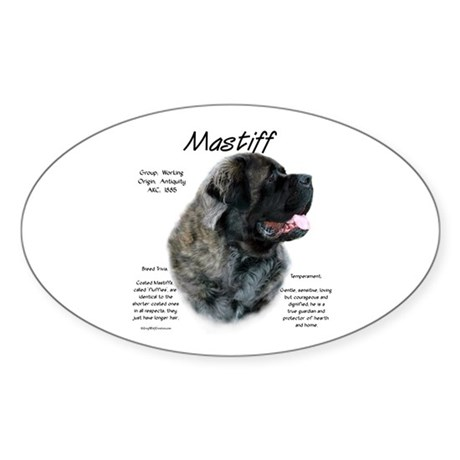 Brindle Fluffy Mastiff Oval Sticker