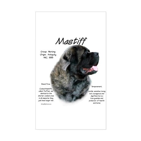 Brindle Fluffy Mastiff Rectangle Sticker