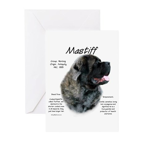 Brindle Fluffy Mastiff Greeting Cards (Package of