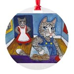 Cat Stealing Cookies- Round Ornament