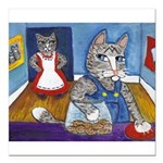 Cat Stealing Cookies- Square Car Magnet 3