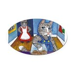 Cat Stealing Cookies- Oval Car Magnet