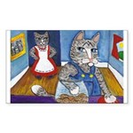 Cat Stealing Cookies- Sticker (Rectangle 50 pk)