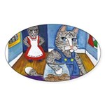 Cat Stealing Cookies- Sticker (Oval 50 pk)
