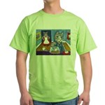 Cat Stealing Cookies- Green T-Shirt
