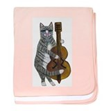 Tabby Cat cello player baby blanket