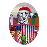 Dalmatian Spotty Claus Oval Ornament