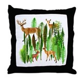 Deer in Horsetails Throw Pillow