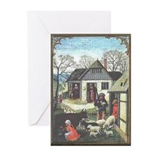 Medieval Village Scene Note Cards (10)