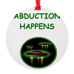 funny alien abduction ufo joke Round Ornament