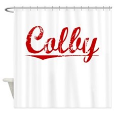 Colby, Vintage Red Shower Curtain
