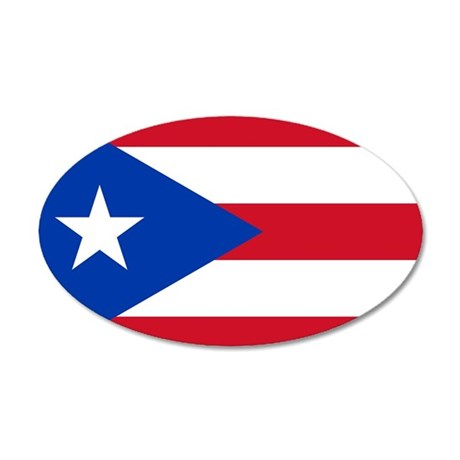 Puerto Rican Flag 35x21 Oval Wall Decal