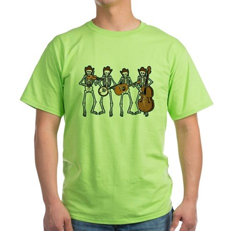 Cowboy Music Skeletons Green T-Shirt