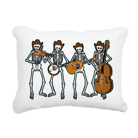 Cowboy Music Skeletons Rectangular Canvas Pillow