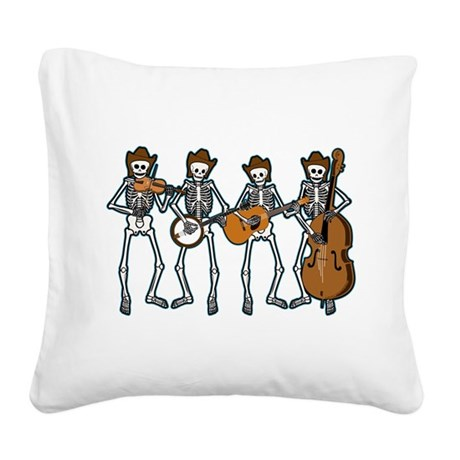 Cowboy Music Skeletons Square Canvas Pillow