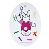 Pink Bunny Oval Ornament