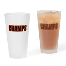Black and Orange Champs Drinking Glass