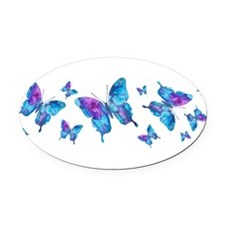 Electric Blue Butterfly Oval Car Magnet