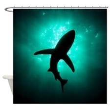 Shark shower curtains shark fabric shower curtain liner