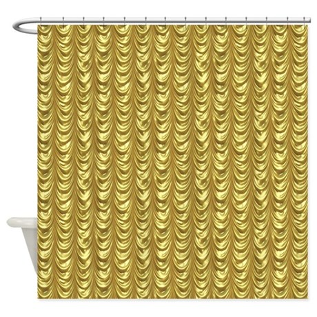 Gold Leaf Draping Curtain Pattern Shower Curtain By Artonwear