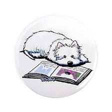 """Book Lover Wendell Westie 3.5"""" Button"""
