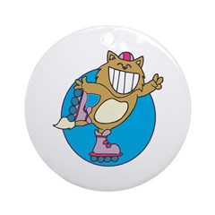 Kitty on Roller Skates Ornament (Round)