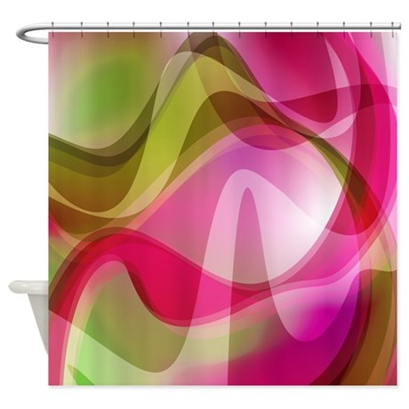 Pink and Green Waves Pattern Shower Curtain