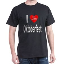 I Love Oktoberfest (Front) Black T-Shirt