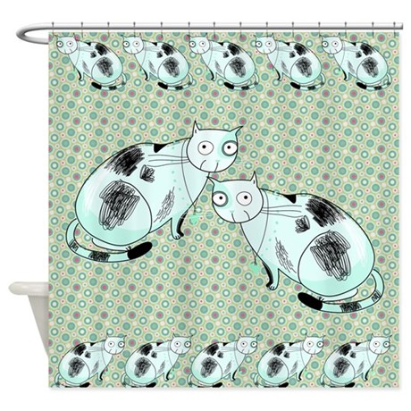Green Funky Cats Shower Curtain