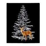 Deer Snowy Tree Throw Blanket
