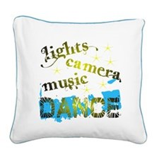 Lights Camera Music Dance Square Canvas Pillow