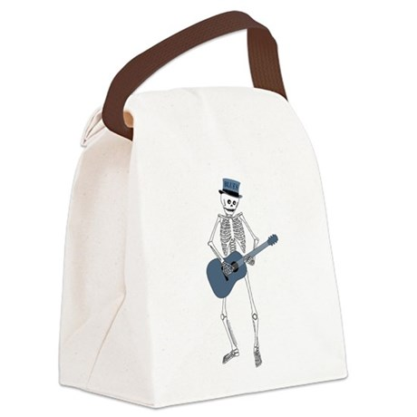 Bluesman Skeleton Canvas Lunch Bag