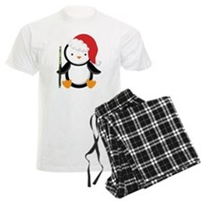 Flute Christmas Penguin Men's Light Pajamas