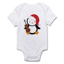 Violin Christmas Penguin Infant Bodysuit