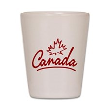 Canada Leaf Script Shot Glass