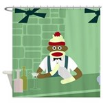 Sock Monkey Martini Bartender Shower Curtain