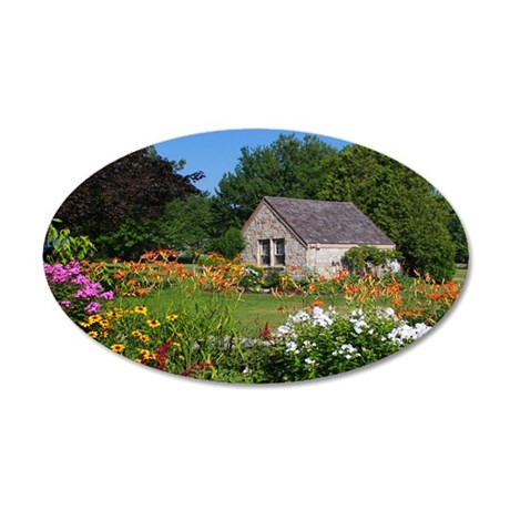 Country Garden Cottage 35x21 Oval Wall Decal